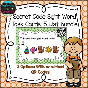 Secret Code Sight Words Task Cards: 5 List Bundle