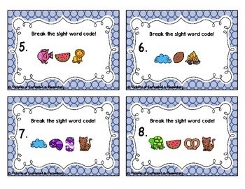 Secret Code Sight Words Task Cards: First Grade Set