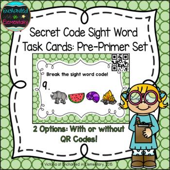 Secret Code Sight Words Task Cards: Pre-Primer Set