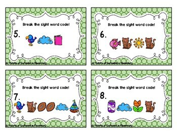 Secret Code Sight Words Task Cards: Pre-Primer Set