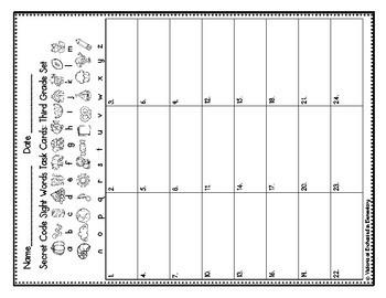 Secret Code Sight Words Task Cards: Third Grade Set