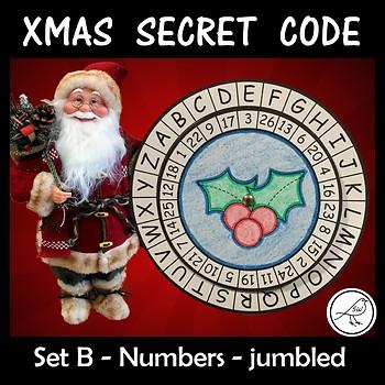 Secret Code Wheel - Alphabet & Numbers (jumbled) -  Christmas Templates