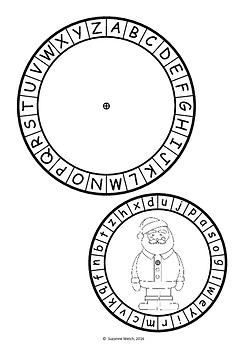 Secret Code Wheel - Alphabet (jumbled) -  Christmas Templates