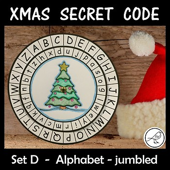 Secret Code Wheel - Alphabet (jumbled) -  Christmas Templates