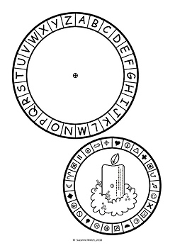 Secret Code Wheel - Alphabet & Symbols -  Christmas Templates