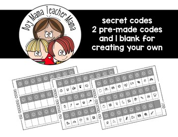 Secret Codes: 2 Pre-Made Codes and 1 Blank