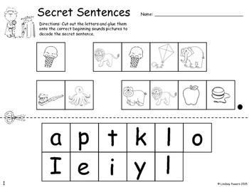 Secret Decodable Sentences with Kindergarten Sight Words
