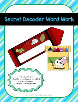 Secret Decoder Word Work Reading Street Grade 1 Unit 4 Week 1 Spelling Words