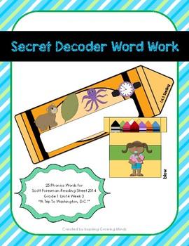 Secret Decoder Word Work Reading Street Grade 1 Unit 4 Week 3 Phonics Words