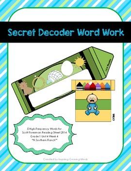 Secret Decoder Word Work Reading Street Grade 1 Unit 4 Week 4 High-Freq. Words