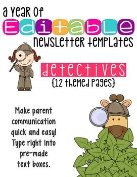 Editable Newsletter Templates (12 included): Secret Detective Theme