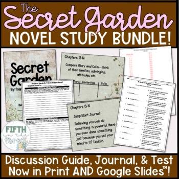 Secret Garden Novel Study BUNDLE discussion guide student journal and test