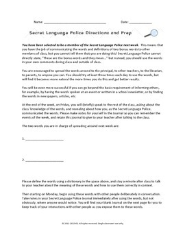 Support Materials for Secret Language Police Method (Word Consciousness)