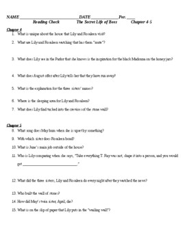 Secret Life of Bees - Reading Checks - Guided Reading Worksheets