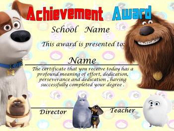 Secret Life of Pets Achievement Award Spanish & English version Editable!!!