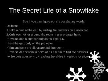 Secret Life of a Snowflake Vocabulary PP and Quiz