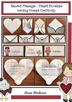 Secret Mesage - Heart Envelope Writing Prompt Craftivity