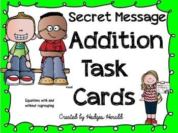 Secret Message Addition Task Cards