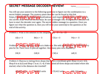 Secret Message Decoder Algebra 1/Math 1 EOC Review