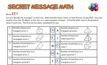 Secret Message Math - 3D Figures and their Properties - Math Fun!