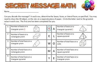 Secret Message Math - 3D Figures and their Properties - Math Fun!