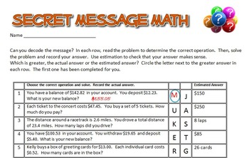 Secret Message Math - Decimal Operations - All 4 Operations - Math Fun!