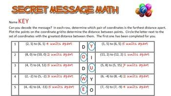 Secret Message Math - Distance on the Coordinate Plane - Math Fun!