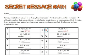 Secret Message Math - Effects of Outliers on Median and Mean - Math Fun!