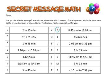Secret Message Math - Elapsed Time