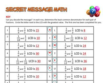 Secret Message Math - Least Common Denominator LCD