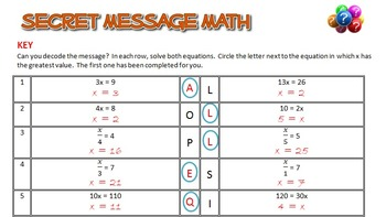Secret Message Math - Solving Equations - All 4 Operations - Math Fun!