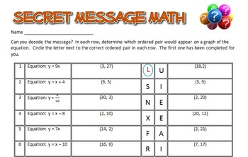 Secret Message Math - Translate between Equations & Graphs - Math Fun!
