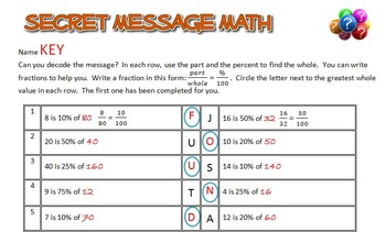 Secret Message Math - Use the Percent to Find the Whole - Math Fun!