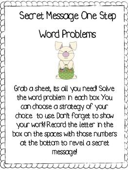 Secret Message One Step Word Problems