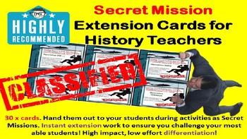 Secret Mission Extension Cards for History Teachers