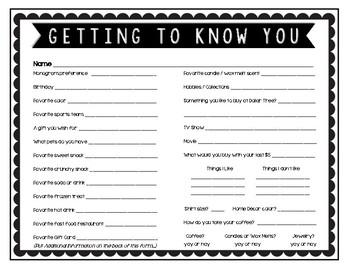 "Secret Pal / Secret Sister ""Getting to Know You"" Information Form FREEBIE"