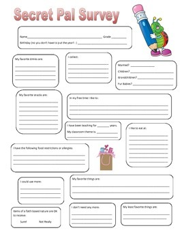 image about Printable Secret Sister Questionnaire identified as Top secret Buddies For Instructors Worksheets Coaching Components TpT