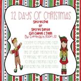 Secret Pal or Secret Santa 12 Days of Christmas