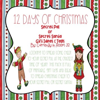 image about 12 Days of Christmas Printable Tags titled Mystery Friend or Key Santa 12 Times of Xmas