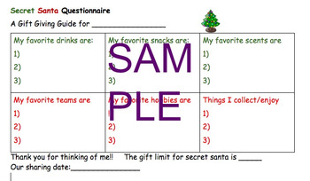 Secret Santa or Christmas Sharing Questionnaire for School