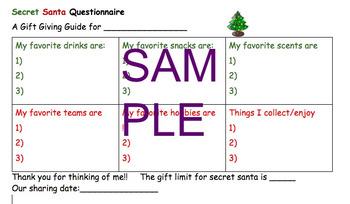Secret Santa or Christmas Sharing Questionnaire School White Elephant Gifts