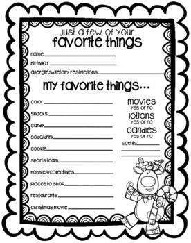 Secret Santa Form Questionnaire Black And White Texas Twist Scribbles