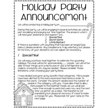 Secret Santa Forms | Holiday Letter to Parents