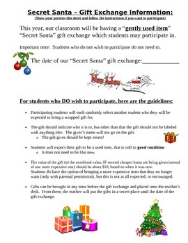 Secret Santa Gift Exchange Student & Parent Letter- different from other version