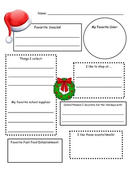 Secret Santa Info Sheet by Cassie Robinson #2: original 1
