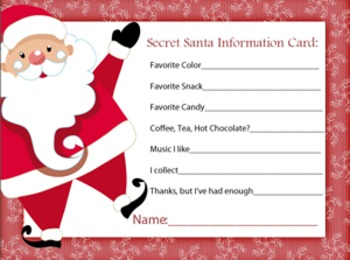 Secret santa information sheet by a space to create art tpt secret santa information sheet pronofoot35fo Images