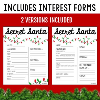 Secret Santa & White Elephant Gift Exchange Forms