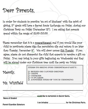 Secret santa letter and permission slip by acerteacher tpt secret santa letter and permission slip altavistaventures Images