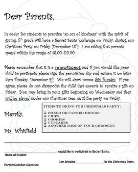 Secret Santa Letter and Permission Slip