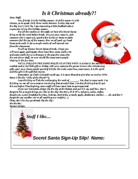 Secret santa letter for staff by casey south teachers for Secret santa email template